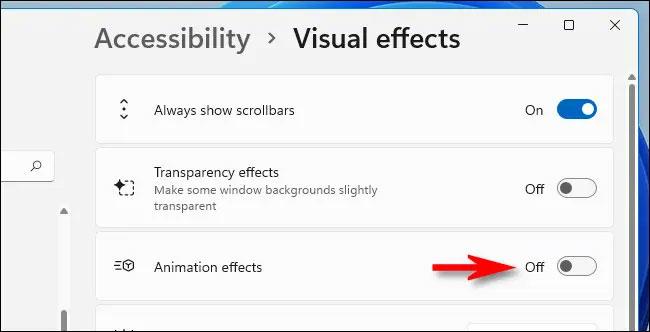 Cách tắt hiệu ứng chuyển động, hoạt ảnh trong Windows 11